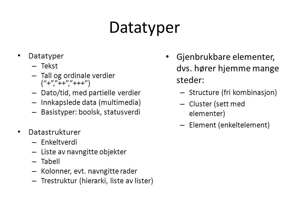 Datatyper Gjenbrukbare elementer, dvs. hører hjemme mange steder: