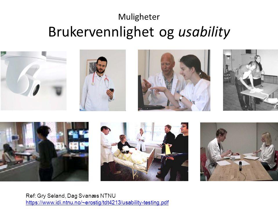 Muligheter Brukervennlighet og usability