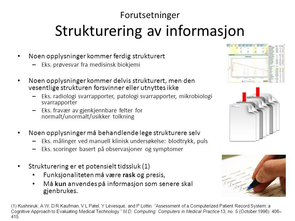Forutsetninger Strukturering av informasjon