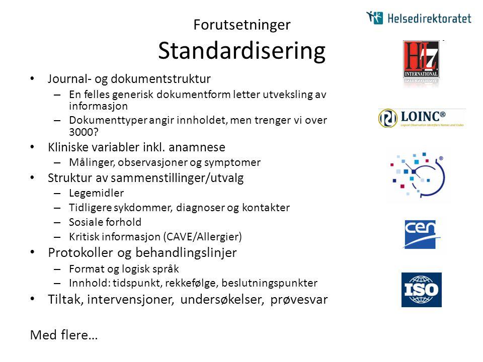 Forutsetninger Standardisering