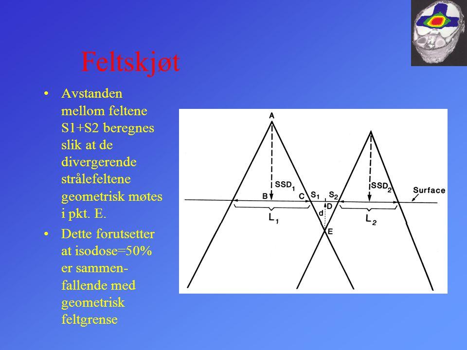 Feltskjøt Avstanden mellom feltene S1+S2 beregnes slik at de divergerende strålefeltene geometrisk møtes i pkt. E.