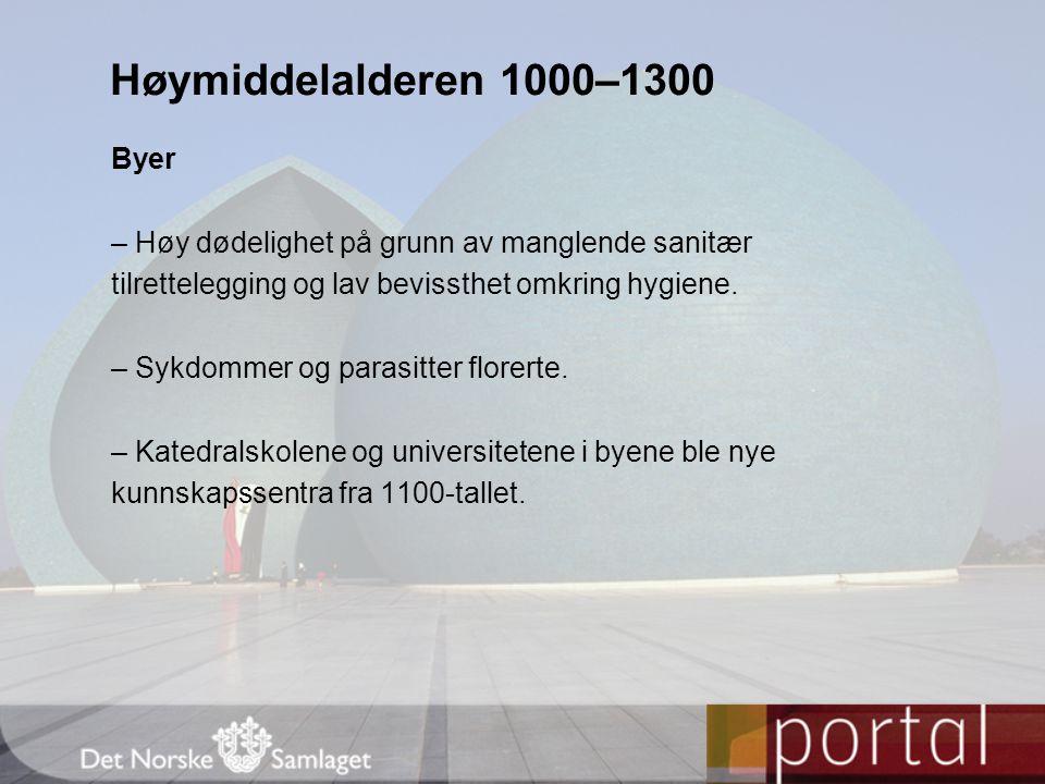 Høymiddelalderen 1000–1300 Byer