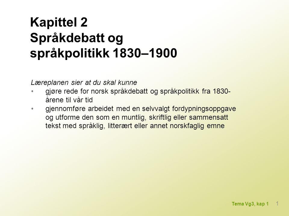 Kapittel 2 Språkdebatt og språkpolitikk 1830–1900
