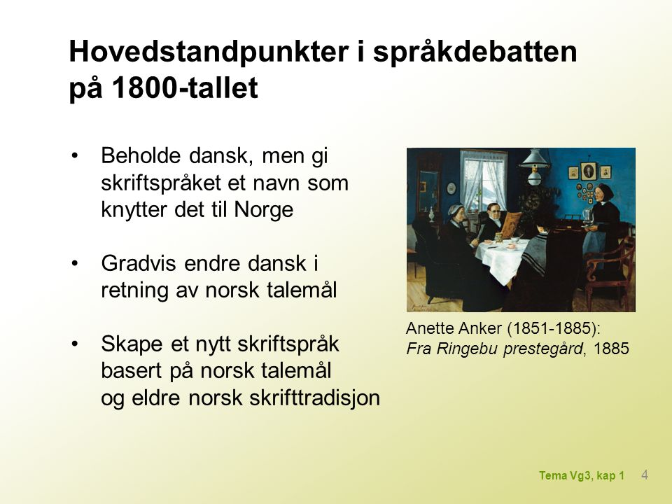 Hovedstandpunkter i språkdebatten på 1800-tallet