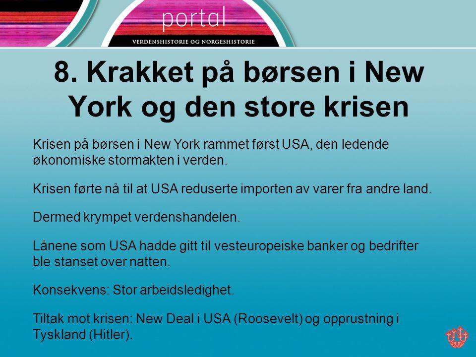8. Krakket på børsen i New York og den store krisen
