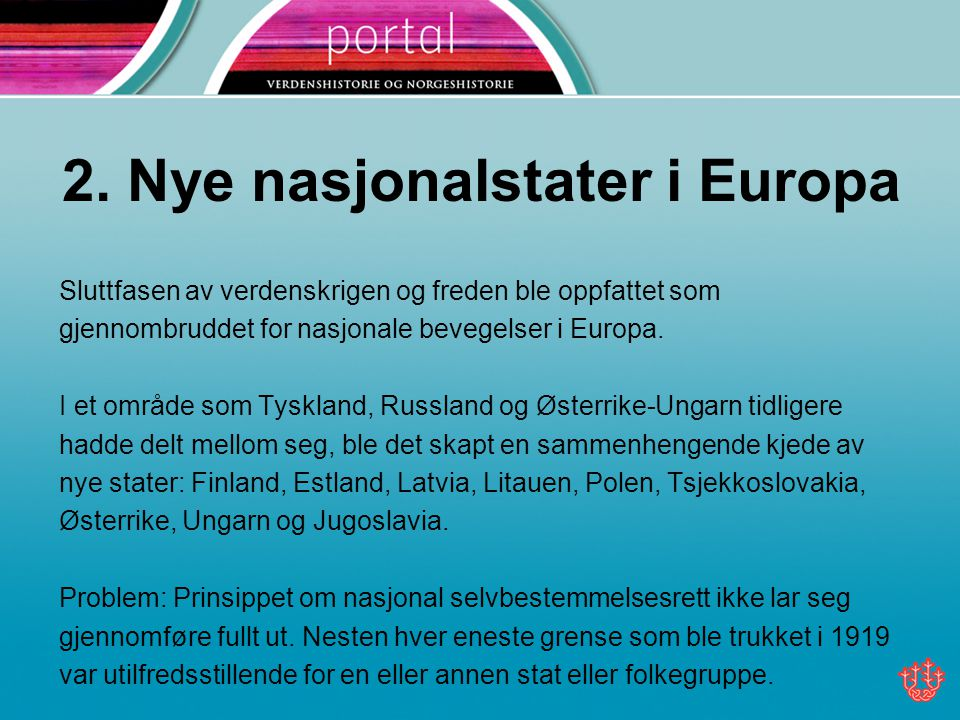 2. Nye nasjonalstater i Europa