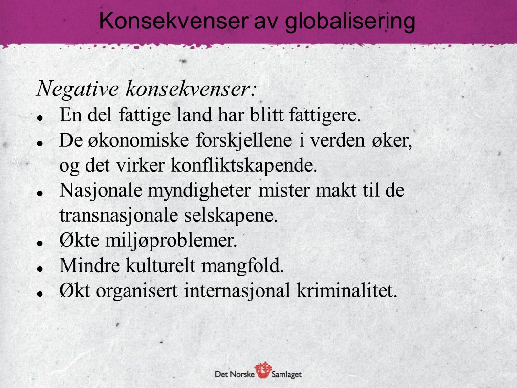 Konsekvenser av globalisering