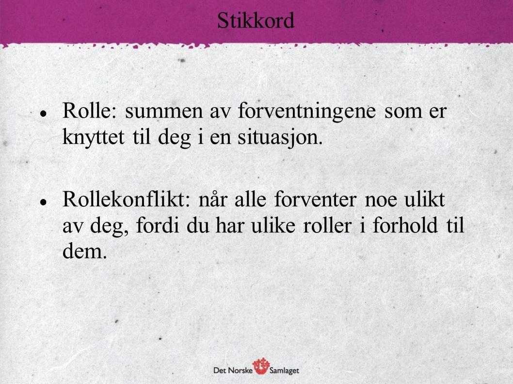 Stikkord Rolle: summen av forventningene som er knyttet til deg i en situasjon.