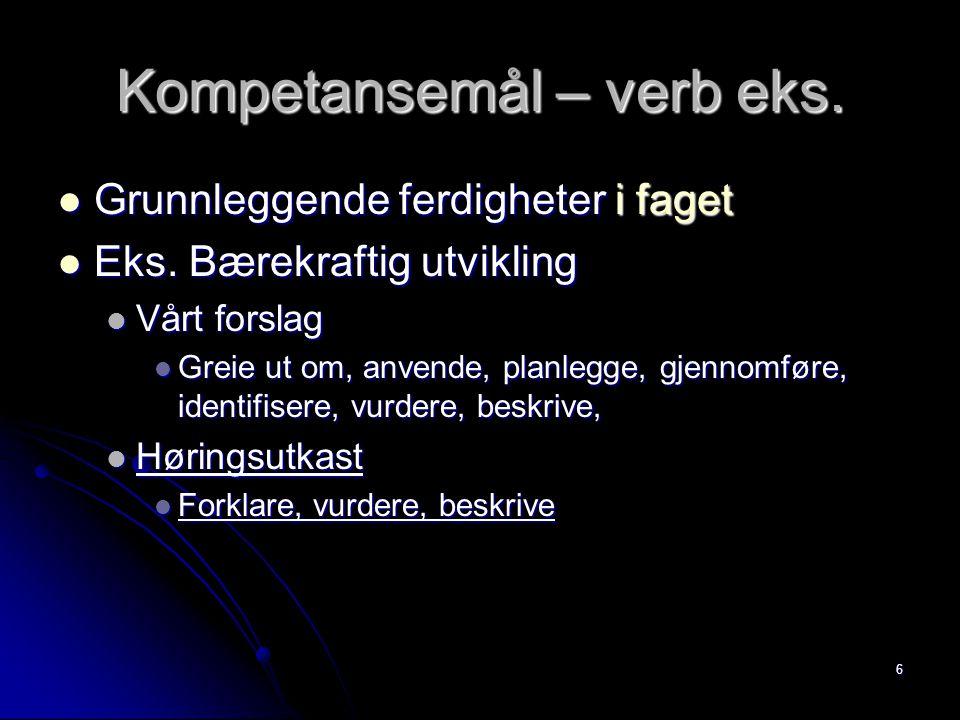 Kompetansemål – verb eks.