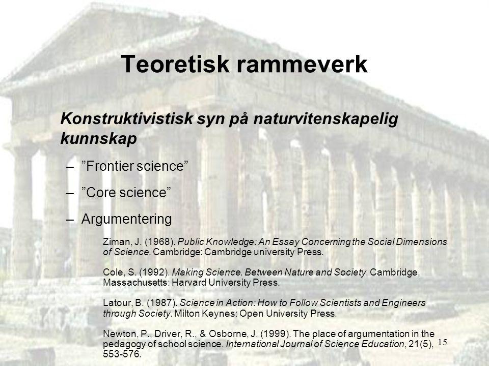 Teoretisk rammeverk Konstruktivistisk syn på naturvitenskapelig kunnskap. Frontier science Core science