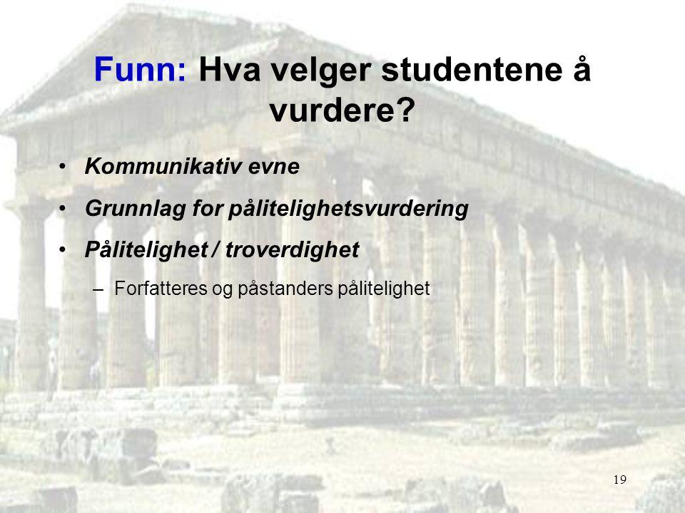 Funn: Hva velger studentene å vurdere