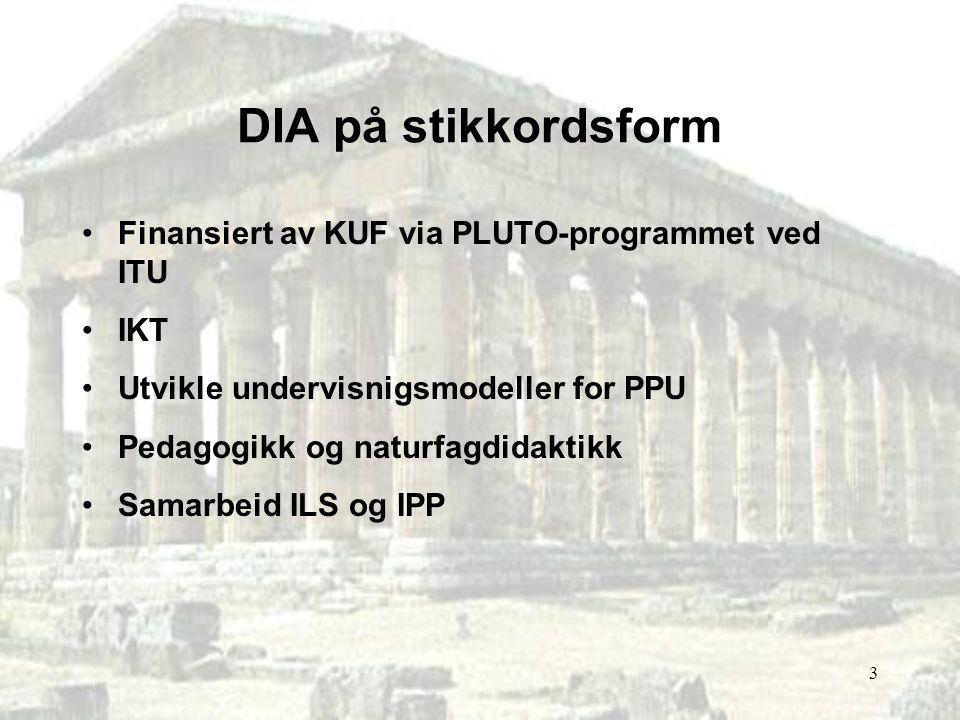 DIA på stikkordsform Finansiert av KUF via PLUTO-programmet ved ITU