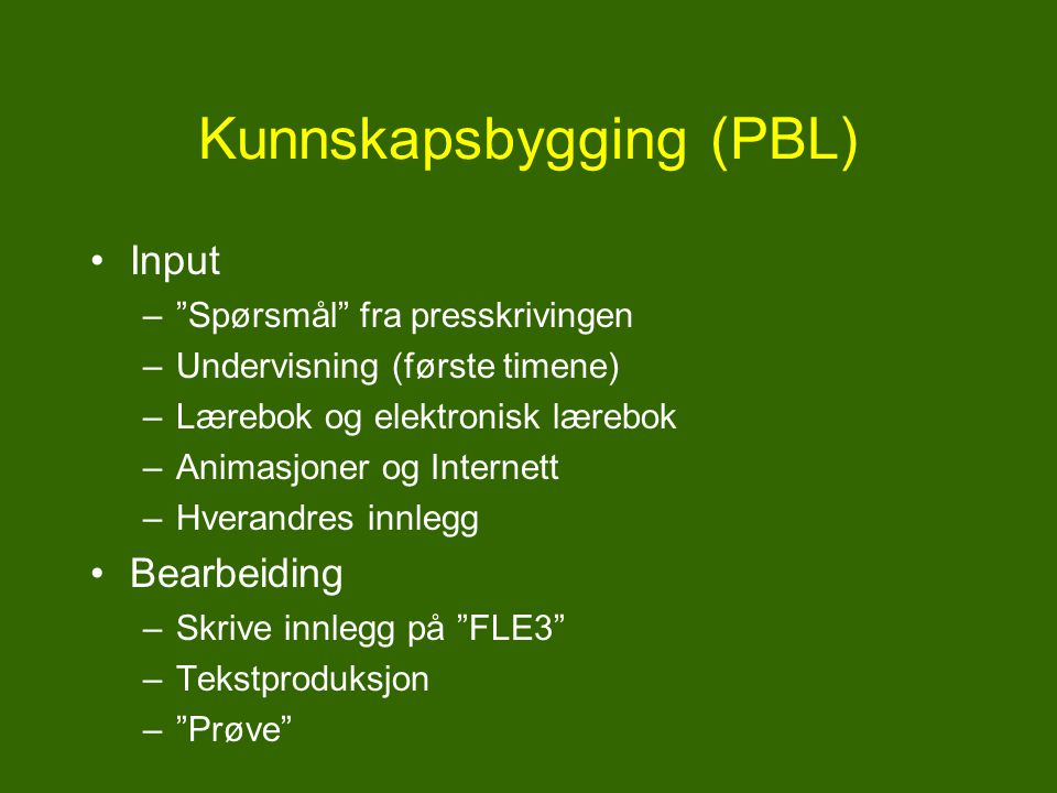 Kunnskapsbygging (PBL)