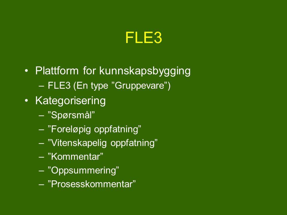 FLE3 Plattform for kunnskapsbygging Kategorisering