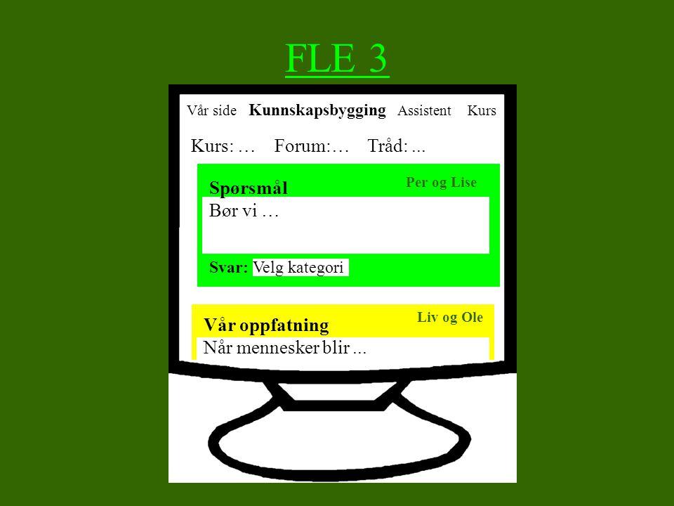 FLE 3 Kurs: … Forum:… Tråd: ... Spørsmål Bør vi … Vår oppfatning