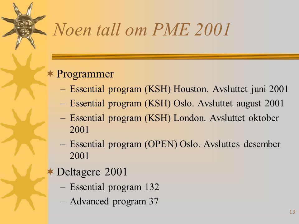 Noen tall om PME 2001 Programmer Deltagere 2001