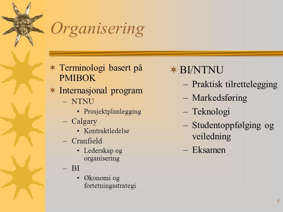 Organisering BI/NTNU Terminologi basert på PMIBOK