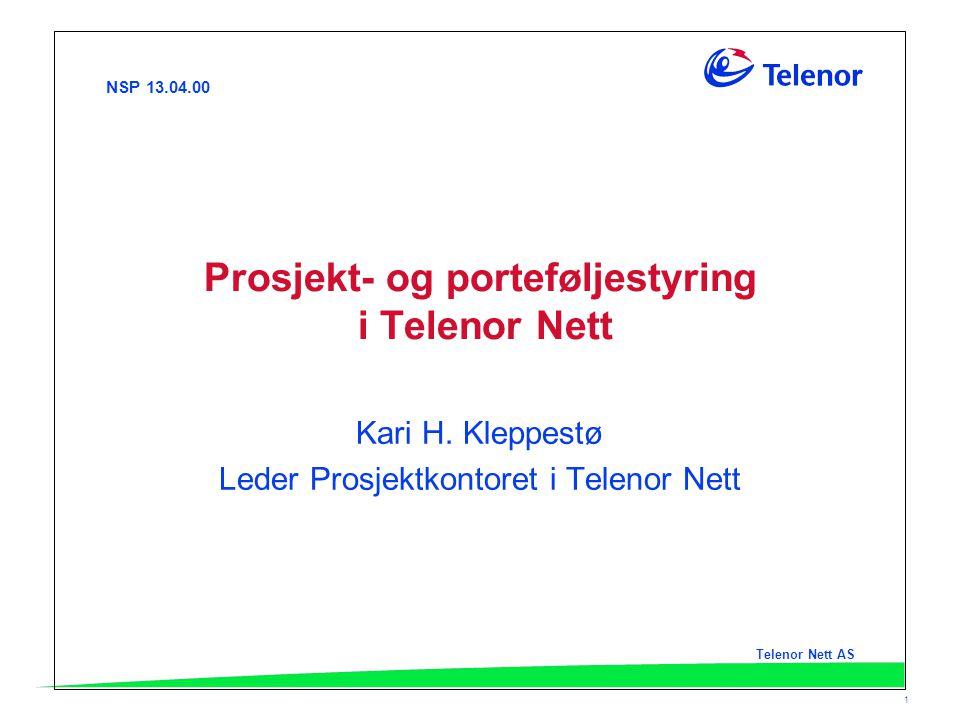 Prosjekt- og porteføljestyring i Telenor Nett