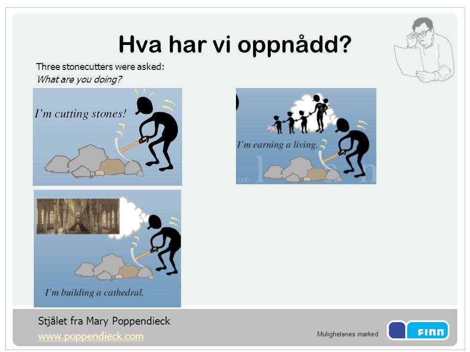 Hva har vi oppnådd Stjålet fra Mary Poppendieck www.poppendieck.com