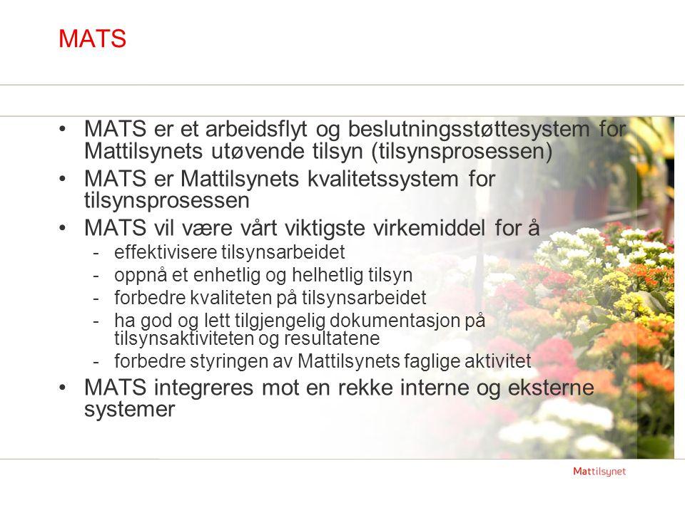 MATS MATS er et arbeidsflyt og beslutningsstøttesystem for Mattilsynets utøvende tilsyn (tilsynsprosessen)