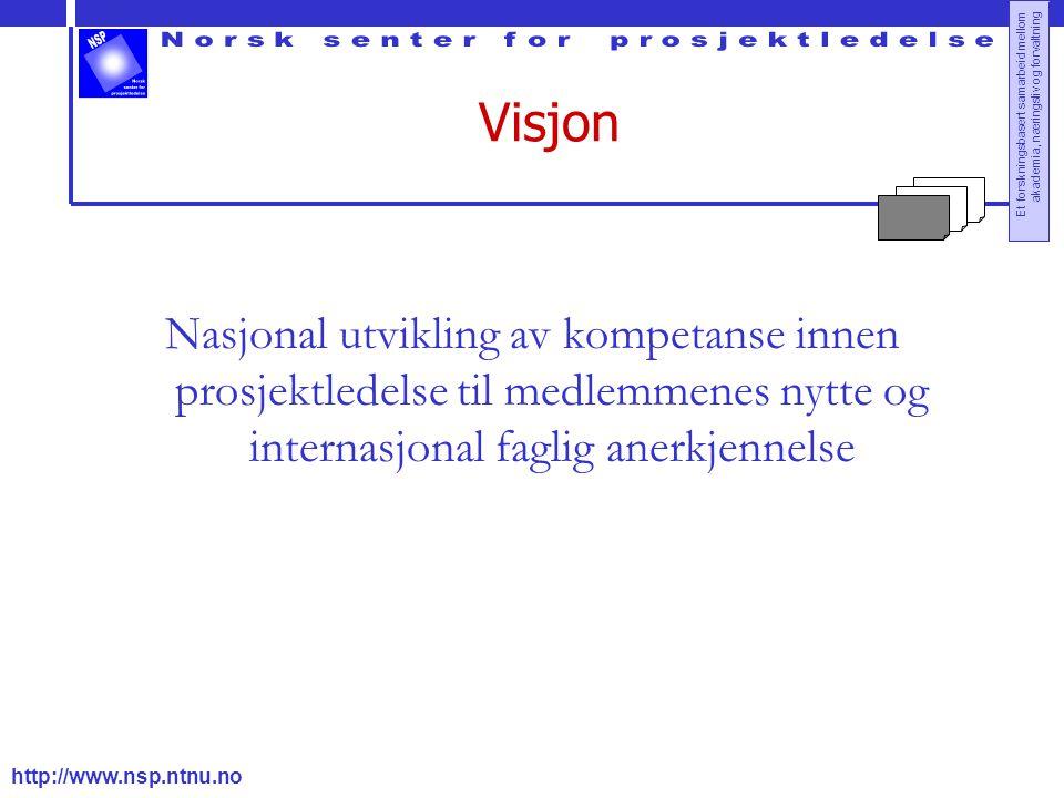 Visjon Nasjonal utvikling av kompetanse innen prosjektledelse til medlemmenes nytte og internasjonal faglig anerkjennelse.