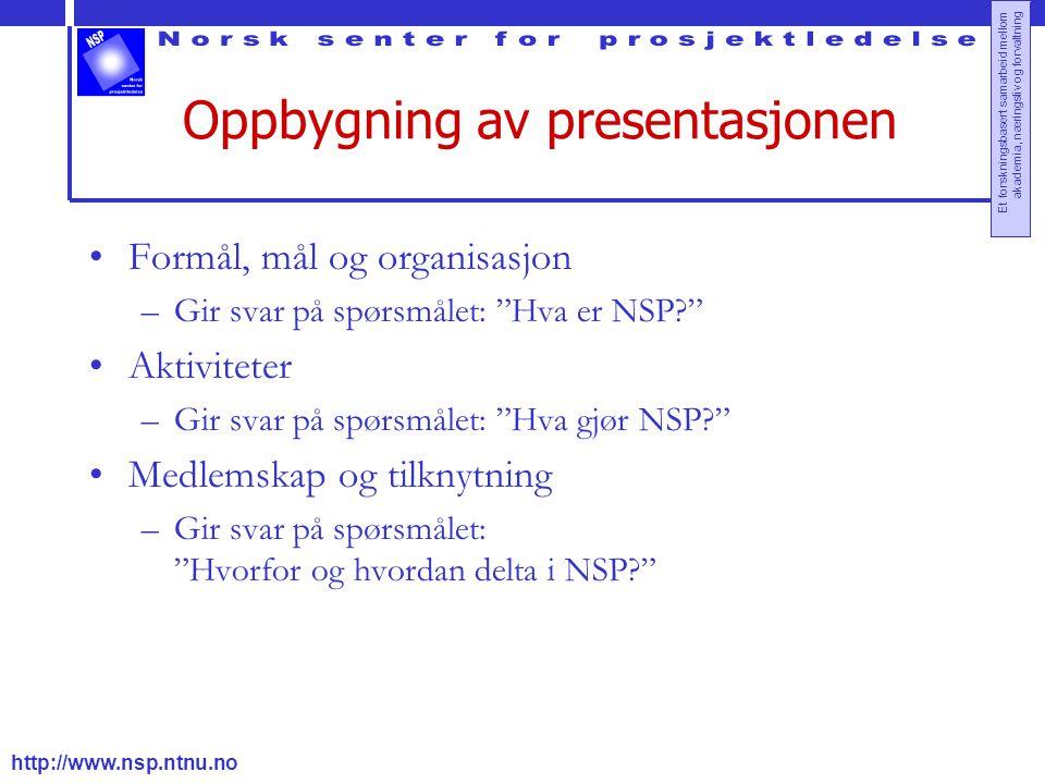 Oppbygning av presentasjonen