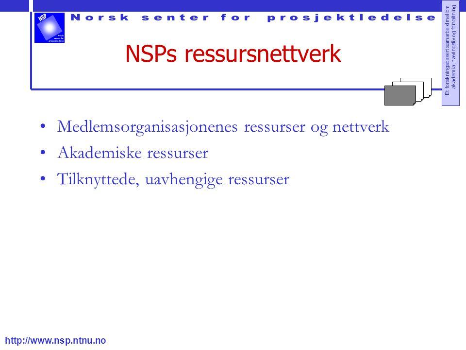 NSPs ressursnettverk Medlemsorganisasjonenes ressurser og nettverk