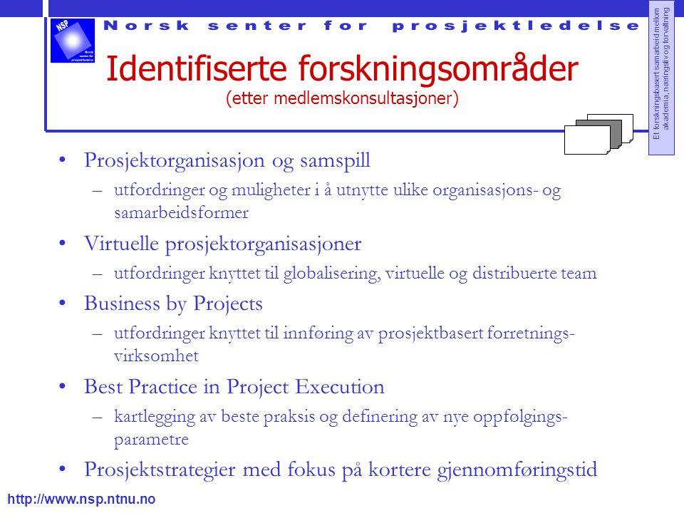 Identifiserte forskningsområder (etter medlemskonsultasjoner)