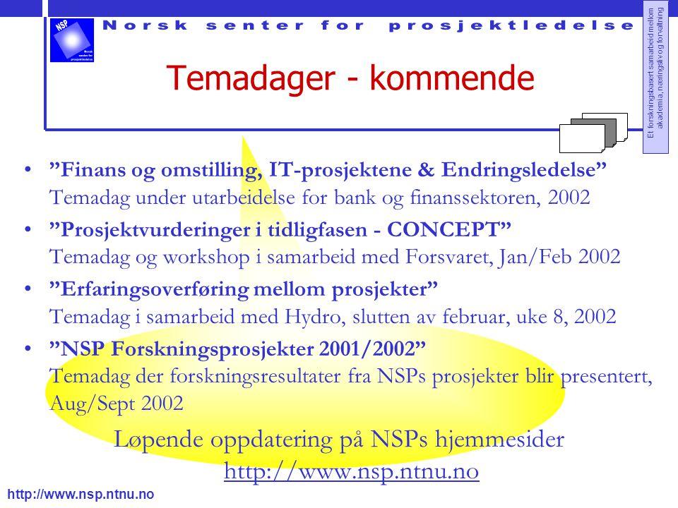 Løpende oppdatering på NSPs hjemmesider http://www.nsp.ntnu.no