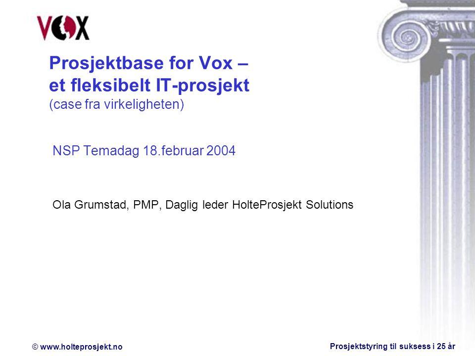 Prosjektbase for Vox – et fleksibelt IT-prosjekt (case fra virkeligheten)