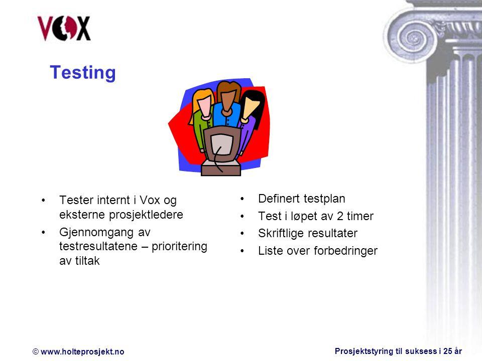 Testing Definert testplan
