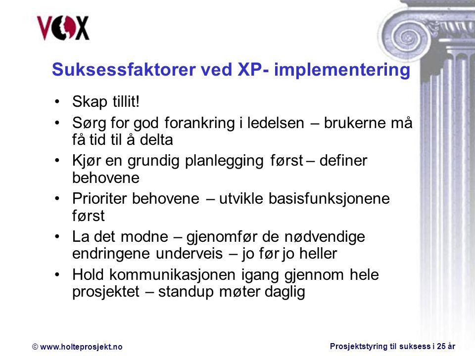 Suksessfaktorer ved XP- implementering