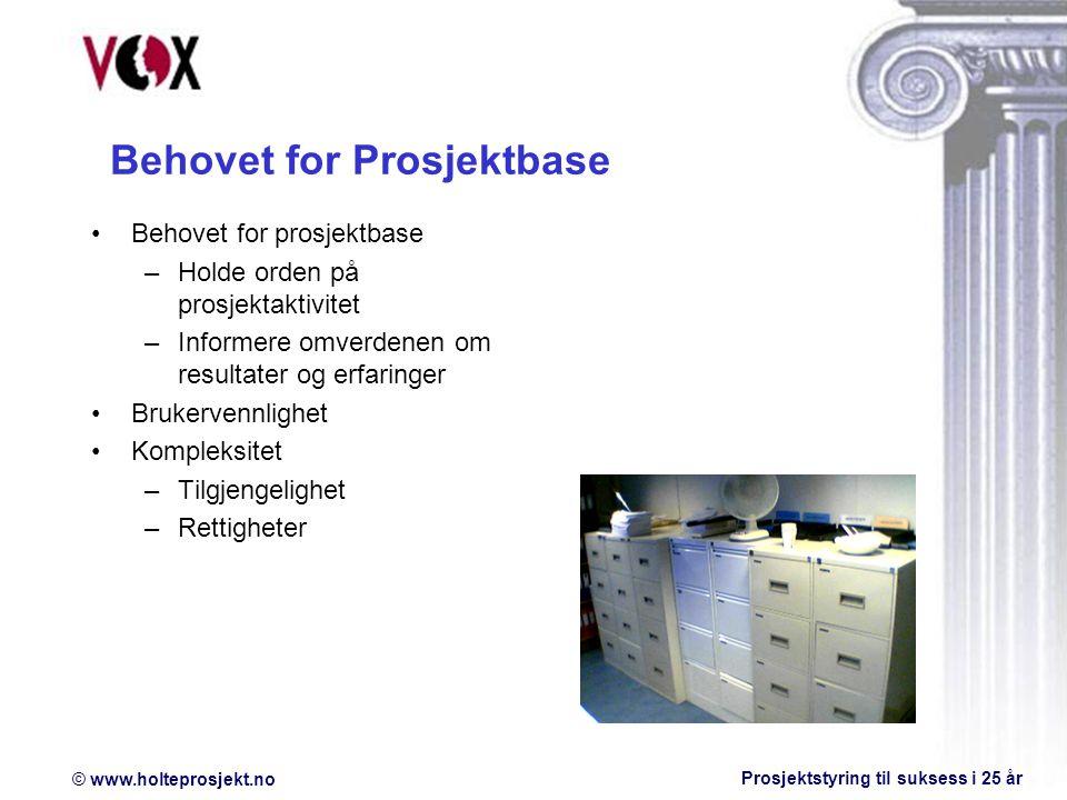 Behovet for Prosjektbase
