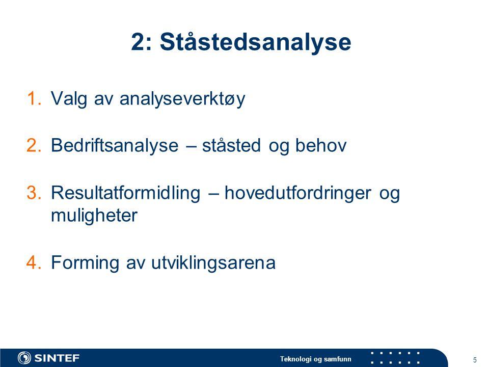 2: Ståstedsanalyse Valg av analyseverktøy
