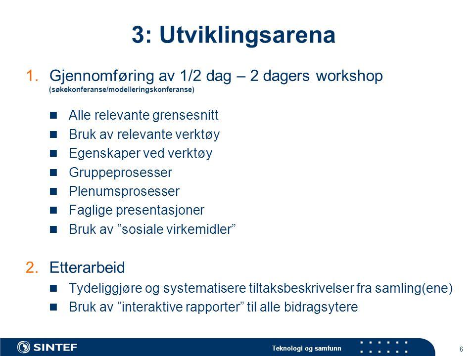 3: Utviklingsarena Gjennomføring av 1/2 dag – 2 dagers workshop (søkekonferanse/modelleringskonferanse)
