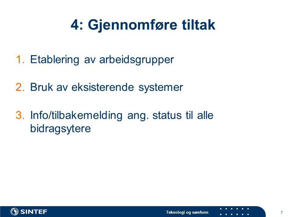 4: Gjennomføre tiltak Etablering av arbeidsgrupper