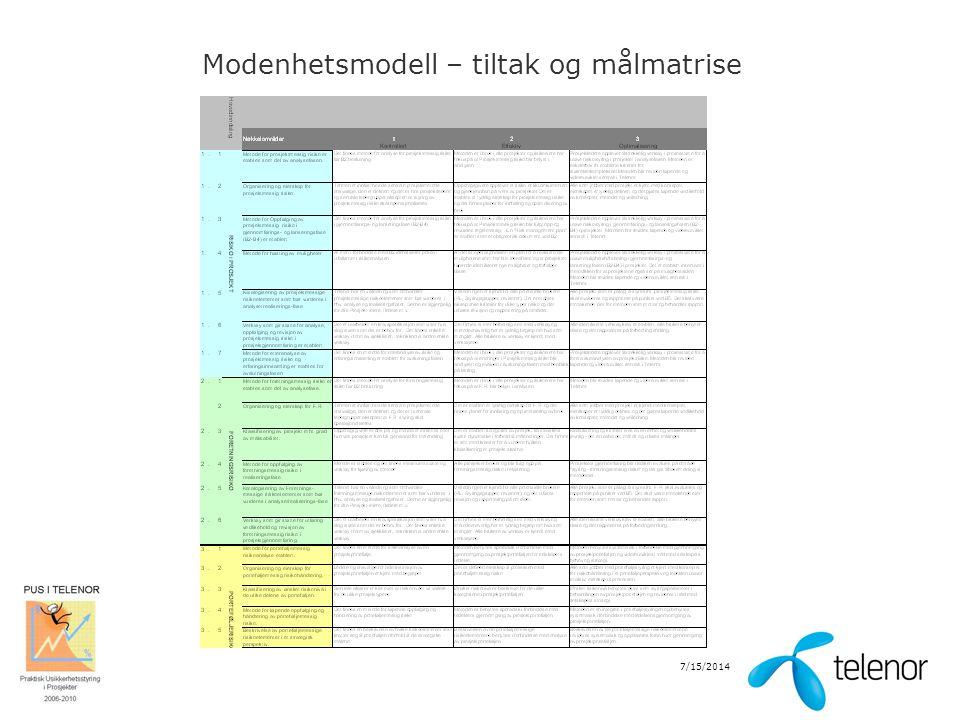 Modenhetsmodell – tiltak og målmatrise