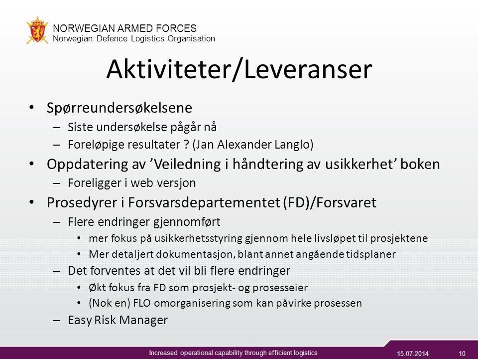 Aktiviteter/Leveranser