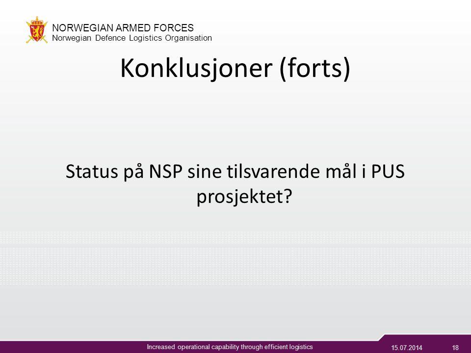 Status på NSP sine tilsvarende mål i PUS prosjektet