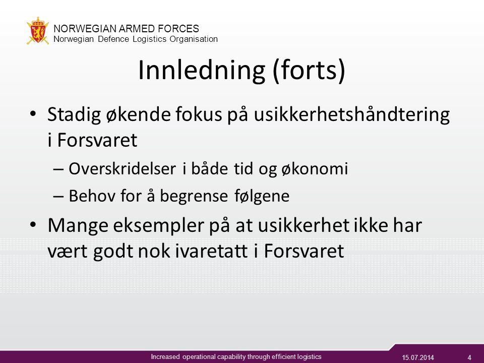 Innledning (forts) Stadig økende fokus på usikkerhetshåndtering i Forsvaret. Overskridelser i både tid og økonomi.