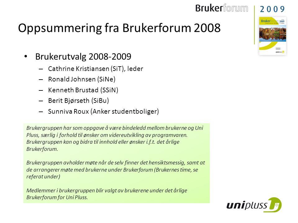 Oppsummering fra Brukerforum 2008