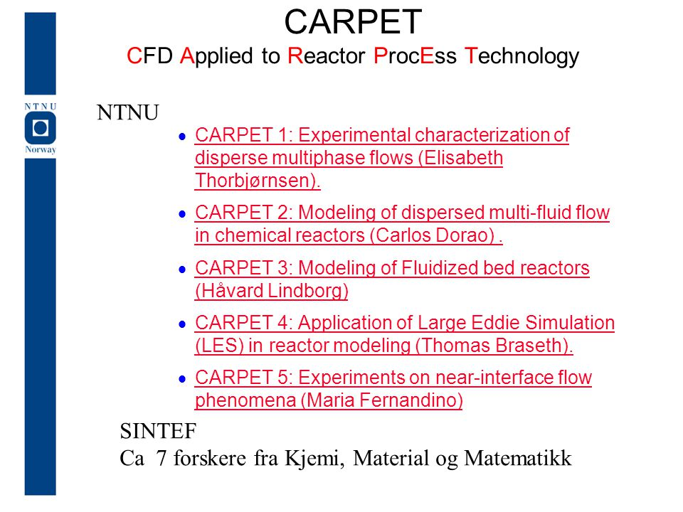 CARPET CFD Applied to Reactor ProcEss Technology