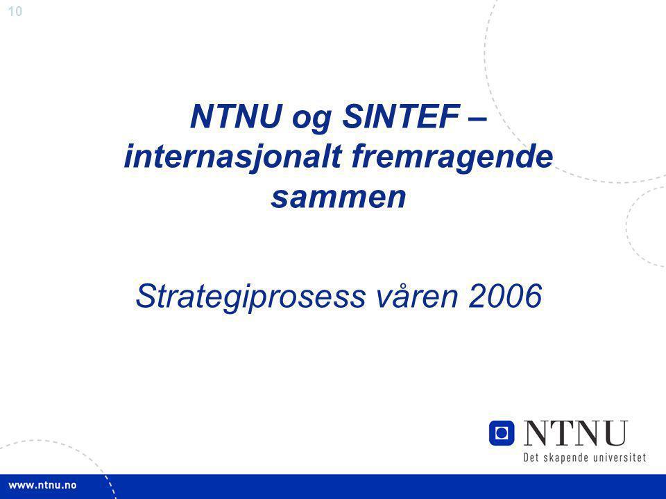 NTNU og SINTEF – internasjonalt fremragende sammen Strategiprosess våren 2006