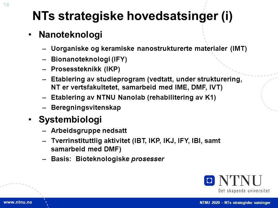 NTs strategiske hovedsatsinger (i)