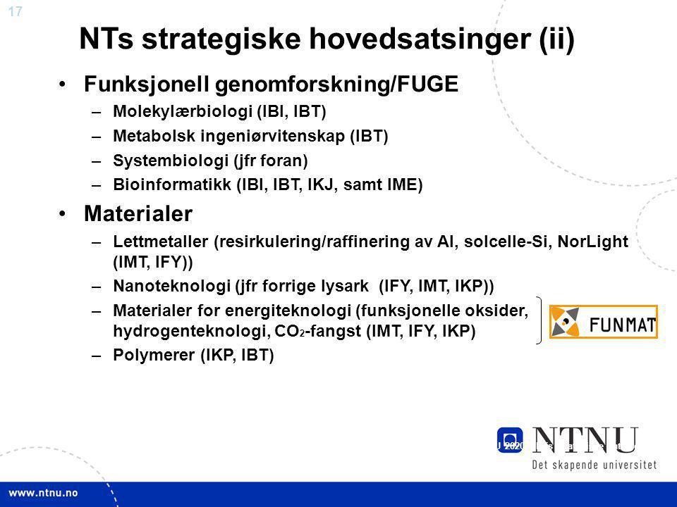 NTs strategiske hovedsatsinger (ii)