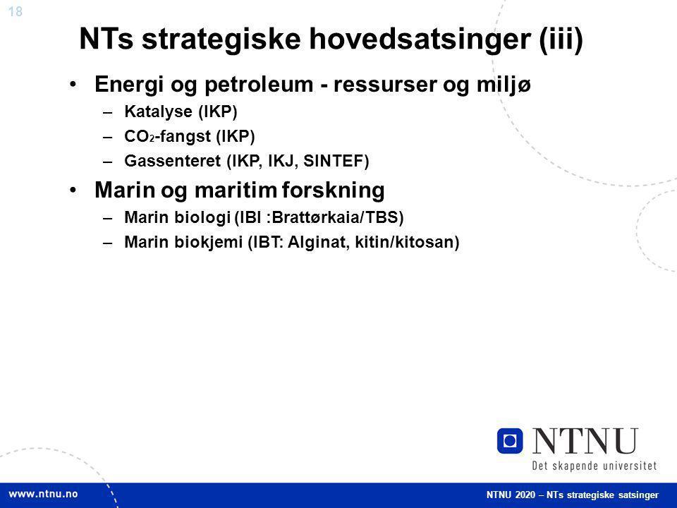 NTs strategiske hovedsatsinger (iii)