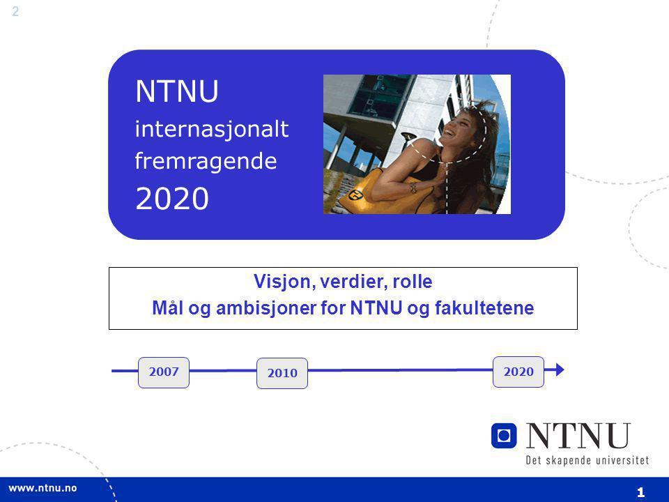 Visjon, verdier, rolle Mål og ambisjoner for NTNU og fakultetene