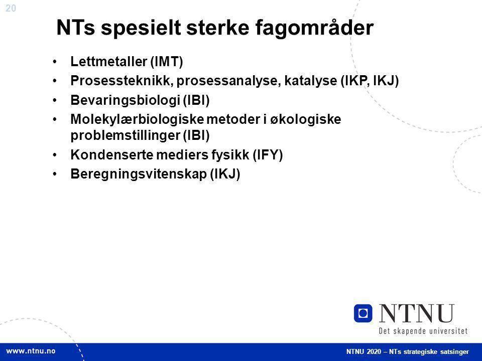 NTs spesielt sterke fagområder