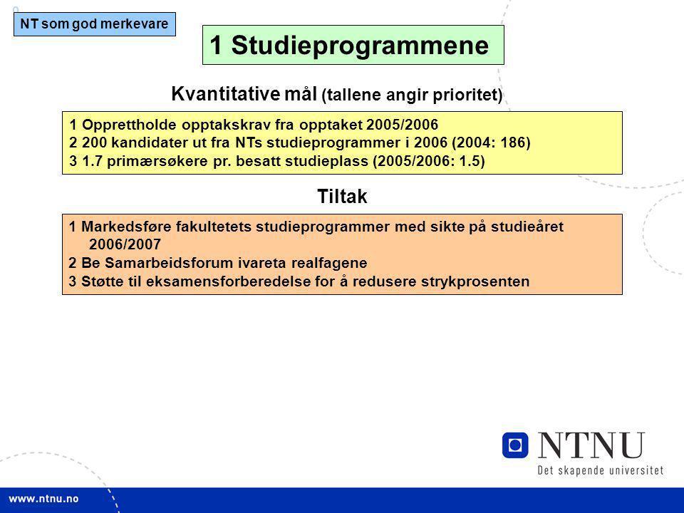 1 Studieprogrammene Kvantitative mål (tallene angir prioritet) Tiltak