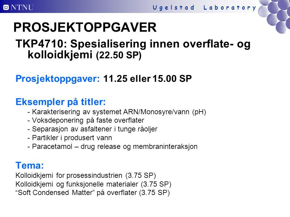 PROSJEKTOPPGAVER TKP4710: Spesialisering innen overflate- og kolloidkjemi (22.50 SP) Prosjektoppgaver: 11.25 eller 15.00 SP.